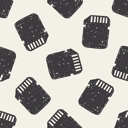 sd: sd card doodle seamless pattern background