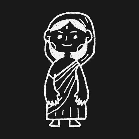 saree: Indian woman doodle