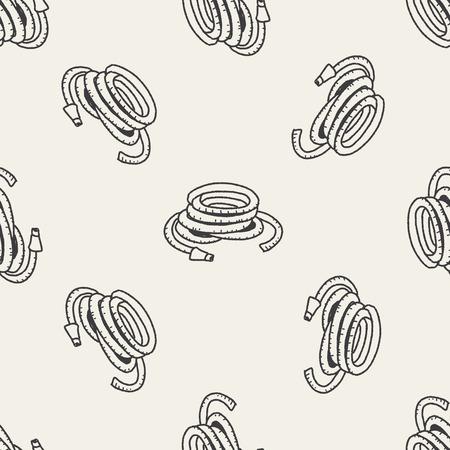 rinse spray hose: sprinkler doodle seamless pattern background Illustration