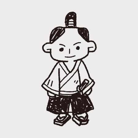 samurai doodle Illustration