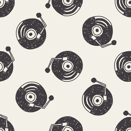doodle music disk seamless pattern background Vector