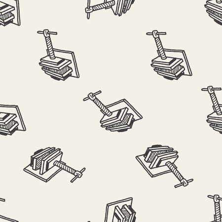 vice grip: jaw vice doodle seamless pattern background
