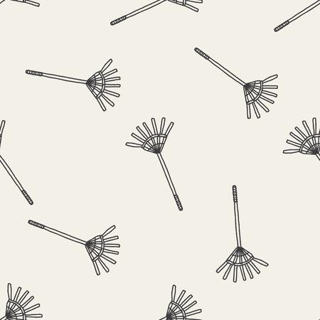 harrow: rake doodle seamless pattern background