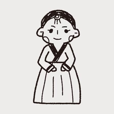 hanbok: Korea woman doodle