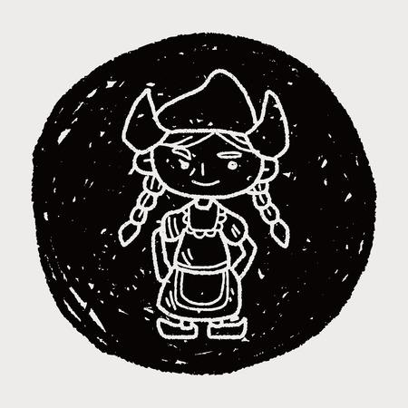 dutch culture: Dutch woman doodle Illustration