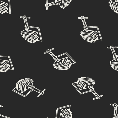 vise: jaw vice doodle seamless pattern background