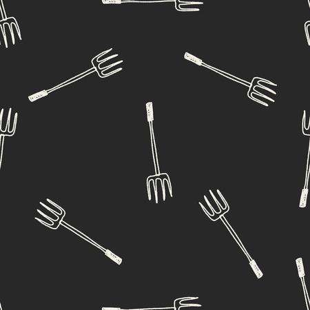 hay bale: fork doodle seamless pattern background Illustration