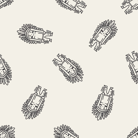 warrior tribal tattoo: indian doodle seamless pattern background