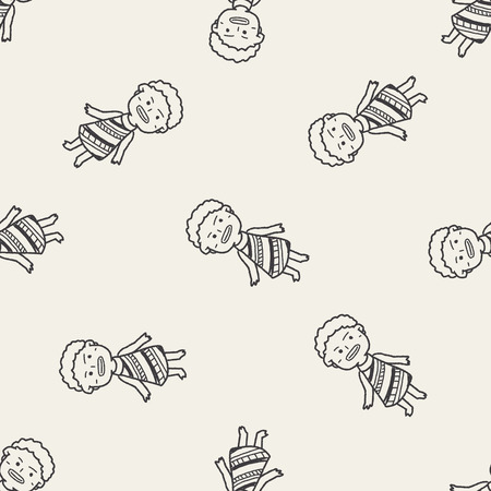 African people doodle seamless pattern background