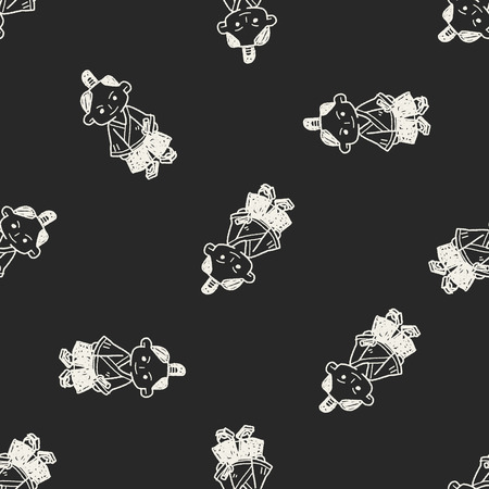 samurai doodle seamless pattern background Vector