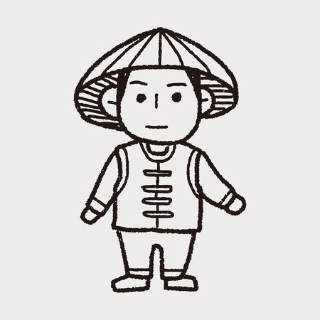 peasant woman: Vietnamese doodle