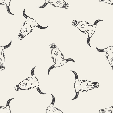 cow skull: cow skull doodle seamless pattern background