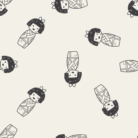 Japanese doll doodle seamless pattern background Vector