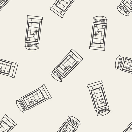 telephone box: Telephone booth doodle seamless pattern background