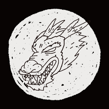 dragon calligraphy: chinese dragon doodle Illustration
