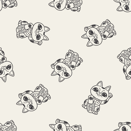 lucky cat: Lucky Cat doodle seamless pattern background