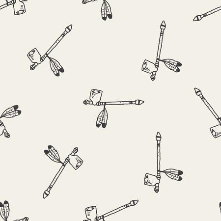 calumet: Indians Pipe smoke doodle seamless pattern background Illustration