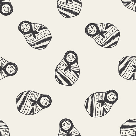 russian dolls: Doodle Russian Dolls seamless pattern background Illustration