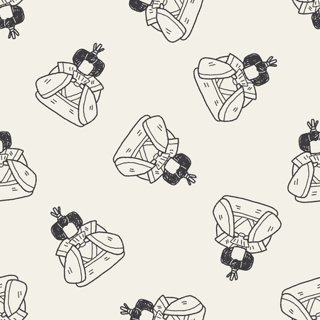 Japanese queen doodle seamless pattern background Vector
