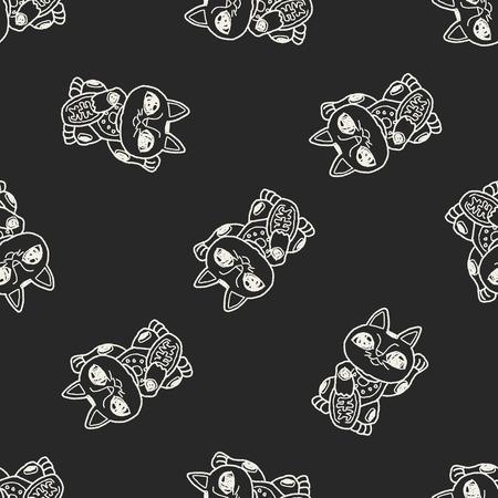 maneki neko: Lucky Cat doodle seamless pattern background