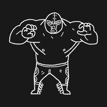 trajes mexicanos: doodle de luchador mexicano