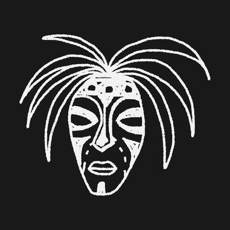 African mask doodle Çizim