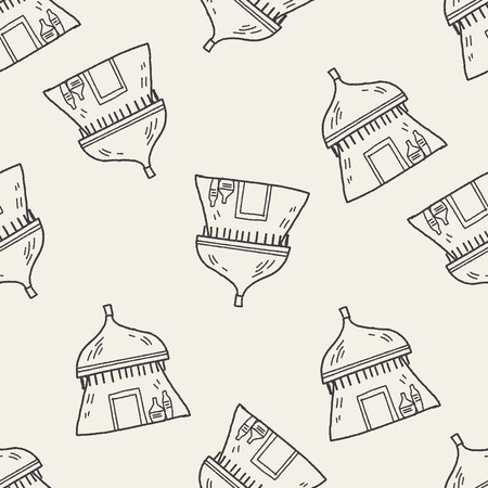 아프리카 집 낙서 원활한 패턴 배경