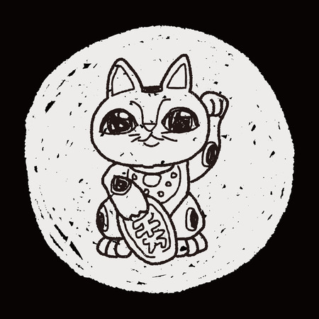 maneki: Lucky Cat doodle Illustration
