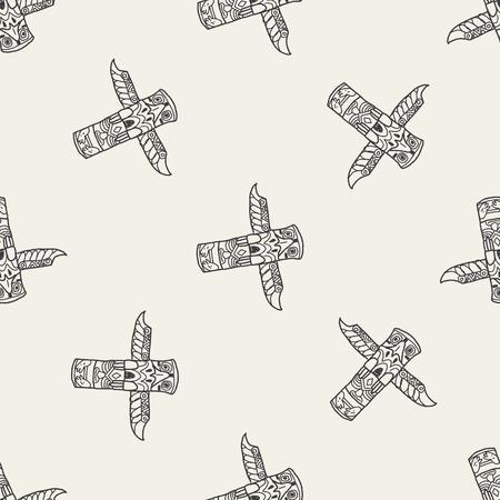haida indian: Totem Pole doodle seamless pattern background Illustration