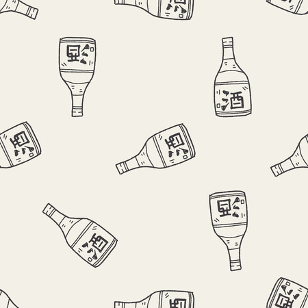 sake doodle seamless pattern background Çizim