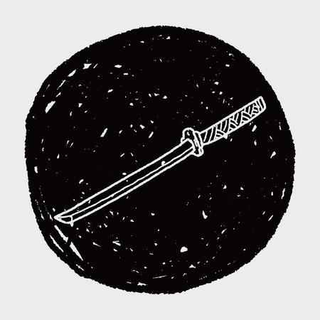 broadsword: Japanese knife doodle Illustration
