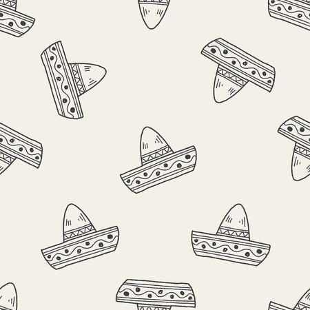 hispanics: mexican hat doodle seamless pattern background Illustration