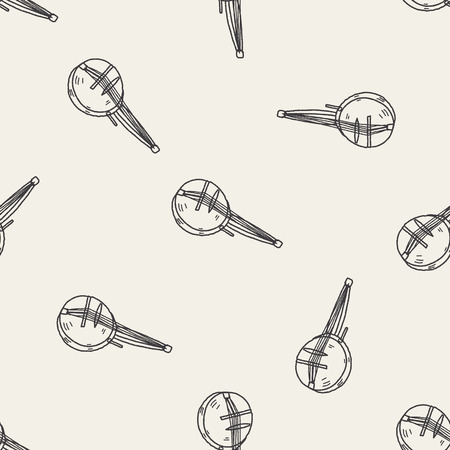 bluegrass: banjo doodle seamless pattern background Illustration