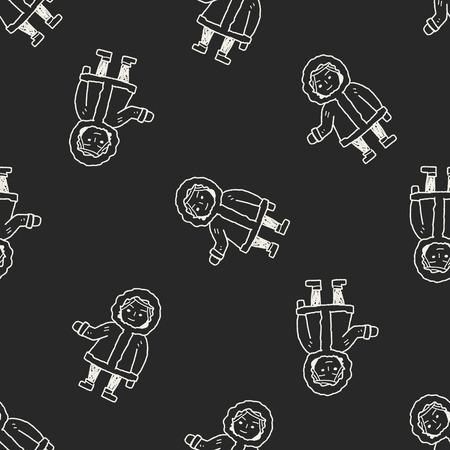 esquimales: Esquimales doodle de fondo sin fisuras patrón