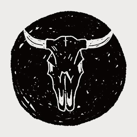 craneo de vaca: vaca cr�neo del doodle