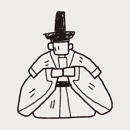 Japanese king doodle Vector