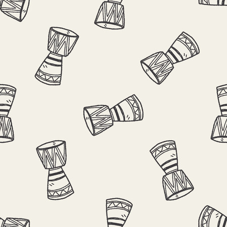 African drum doodle seamless pattern background