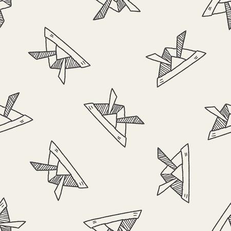 ronin: paper samurai helmet doodle seamless pattern background