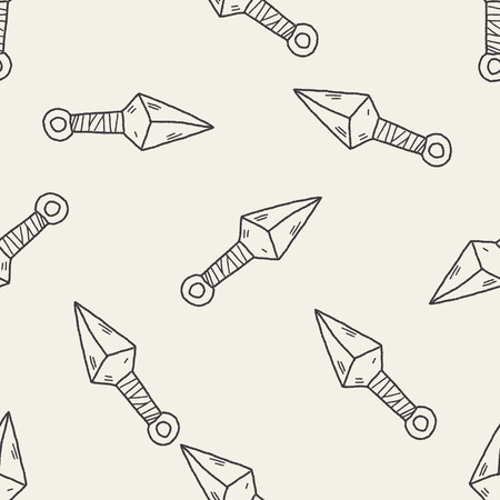 throwing knife: ninja weapon doodle seamless pattern background
