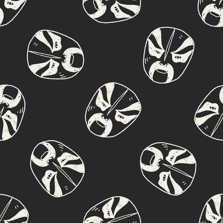 Beijing opera doodle seamless pattern background