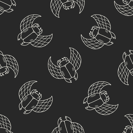 dung: Dung beetles doodle seamless pattern background