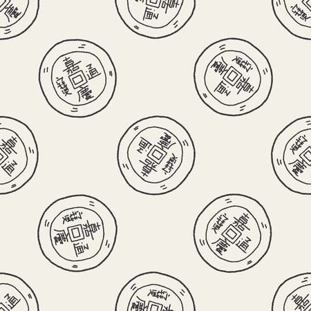 gold ingot: Chinese New Year; Gold ingot means  wish good luck and fortune come. doodle seamless pattern background