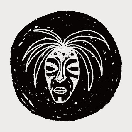 zulu: African mask doodle Illustration