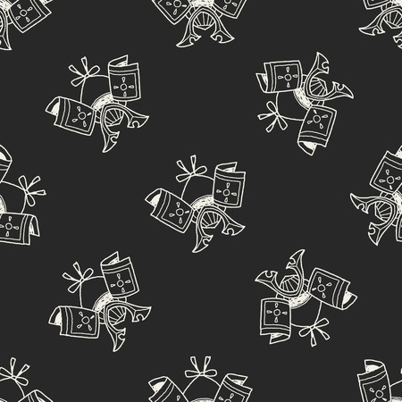ronin: samurai helmet doodle seamless pattern background Illustration
