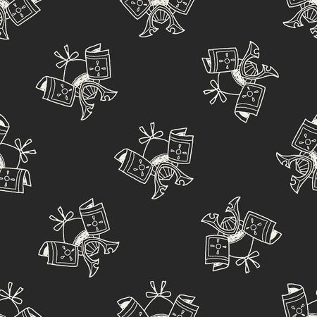 ronin: samurai helmet doodle seamless pattern background Illustration