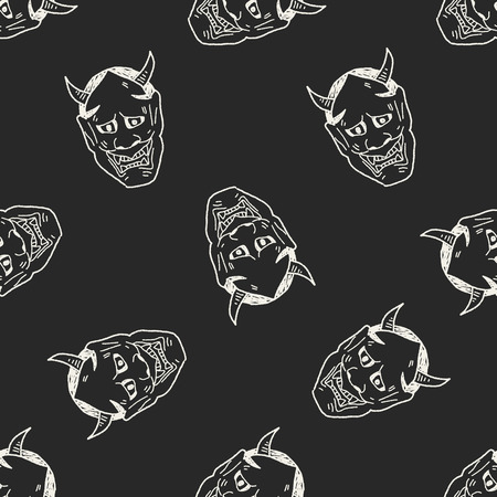 ghost mask: Japan ghost mask doodle seamless pattern background