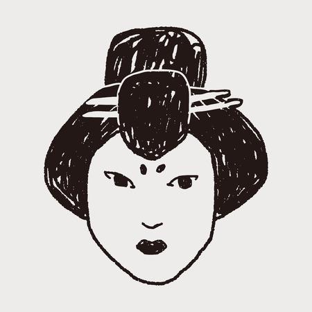 geisha: Geisha doodle Illustration