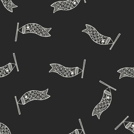 windsock: Japanese  kite doodle seamless pattern background