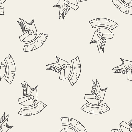 knight: knight helmet doodle seamless pattern background