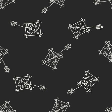 windsock: Japanese spring word kite doodle seamless pattern background